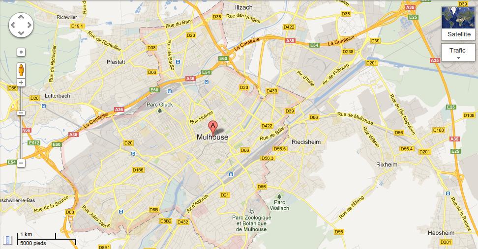 Le ban communal de Mulhouse s'affiche en pointillés